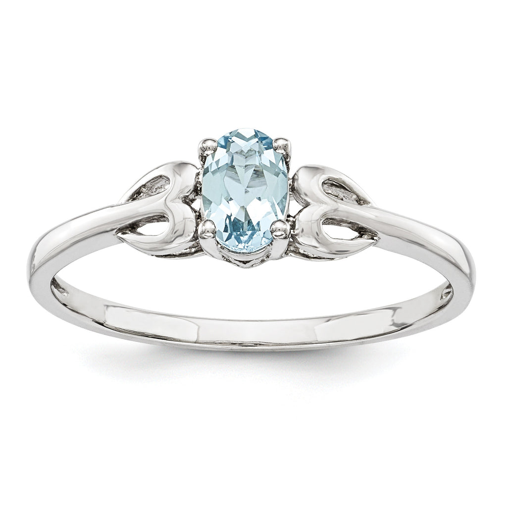Sterling Silver Rhodium-plated Aquamarine Ring QBR20MAR