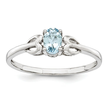 Sterling Silver Rhodium-plated Aquamarine Ring QBR20MAR - shirin-diamonds