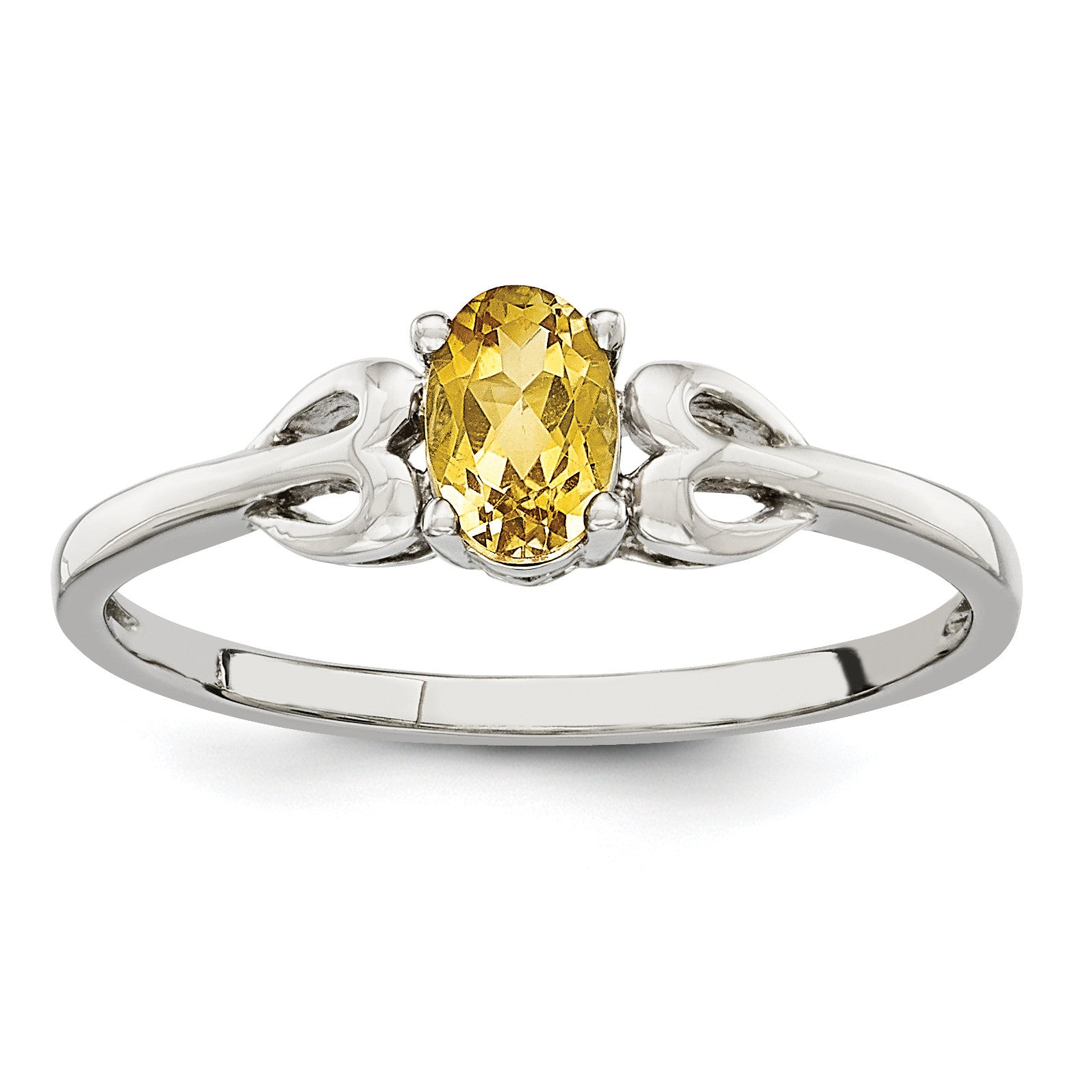 Sterling Silver Rhodium-plated Citrine Ring QBR20NOV - shirin-diamonds