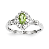 Sterling Silver Rhodium-plated Peridot & Diam. Ring QBR22AUG