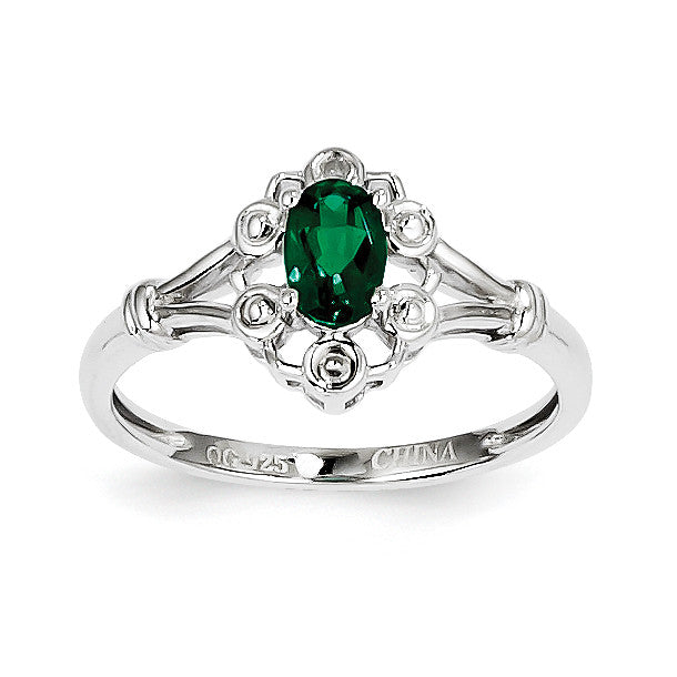 Sterling Silver Rhodium-plated Created Emerald & Diam. Ring QBR22MAY