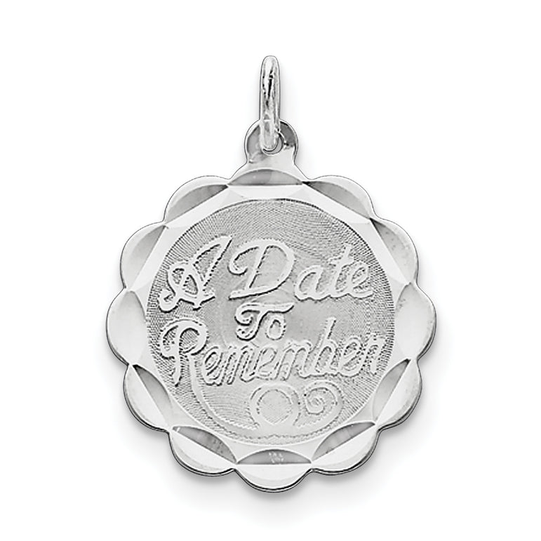 Sterling Silver A Date To Remember Disc Charm QC2102 - shirin-diamonds