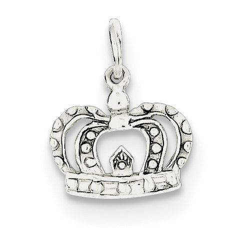 Sterling Silver Crown Charm QC256