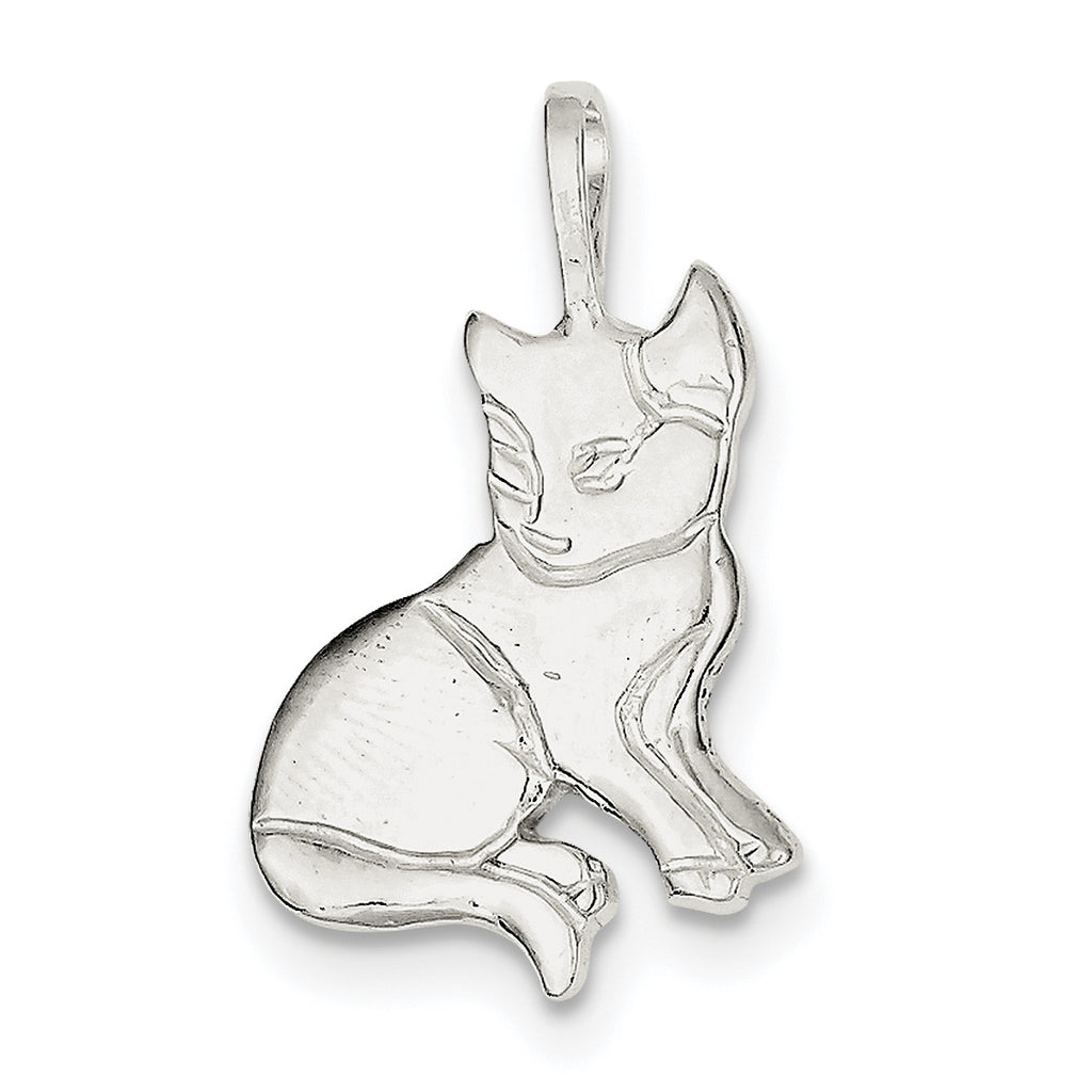 Sterling Silver Cat Charm QC2661 - shirin-diamonds