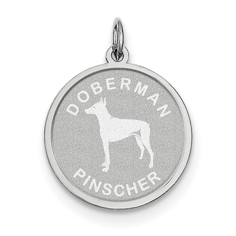 Sterling Silver Doberman Pinscher Disc Charm QC2683 - shirin-diamonds
