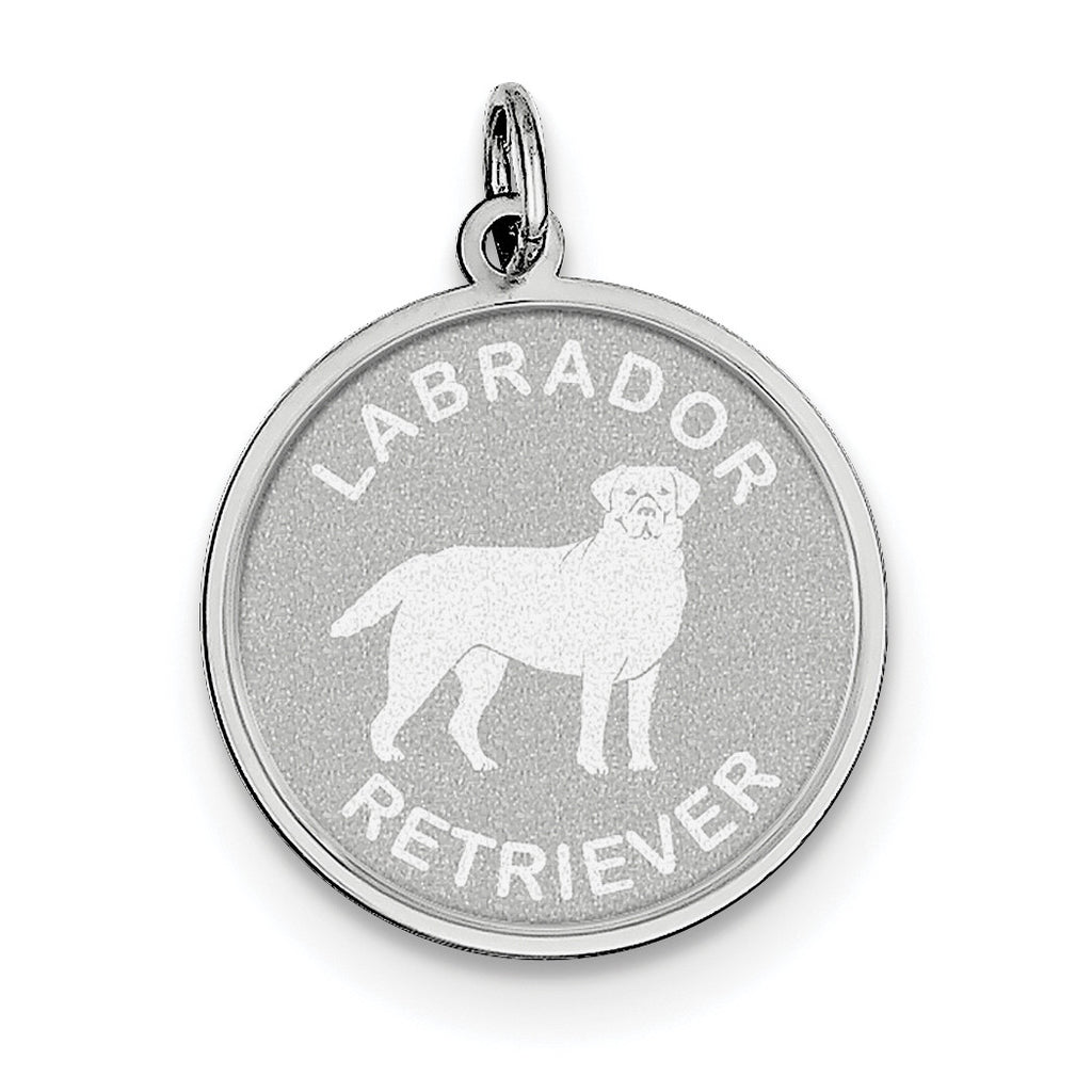 Sterling Silver Labrador Retrieve Disc Charm QC2692 - shirin-diamonds