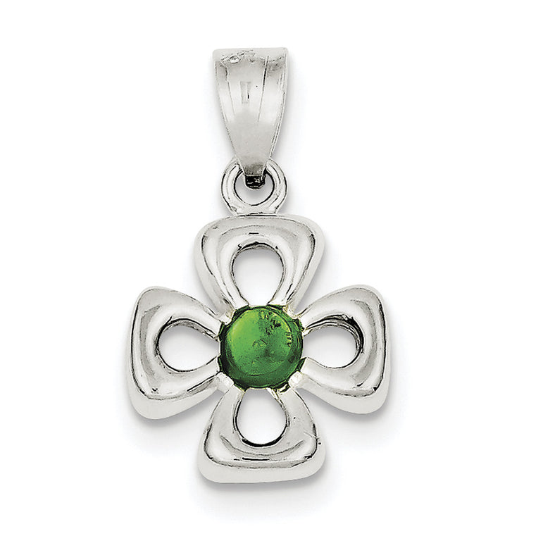 Sterling Silver Four Leaf Clover with Green Synthetic Stone Charm QC3143 - shirin-diamonds