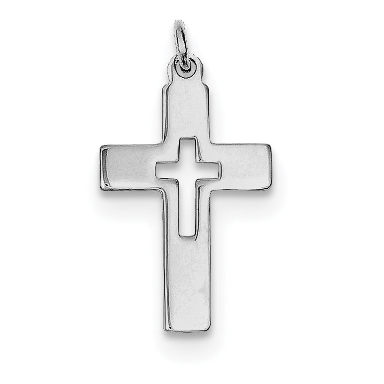 Sterling Silver Rhodium-plated Cut-out Cross Charm QC3243 - shirin-diamonds