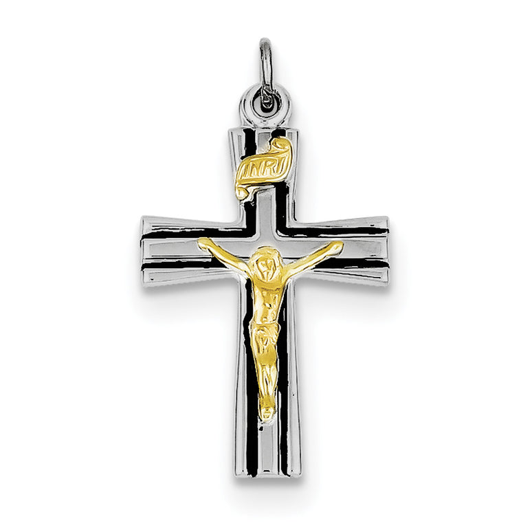 Sterling Silver Rhodium-plated & Vermeil INRI Crucifix Charm QC3394 - shirin-diamonds