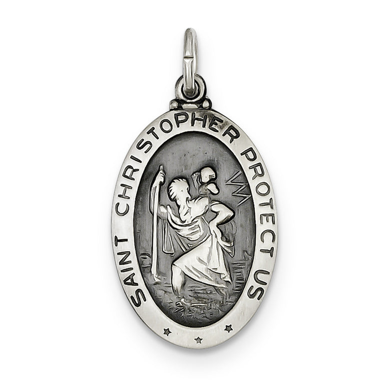 Sterling Silver St. Christopher Basketball Medal QC3567 - shirin-diamonds
