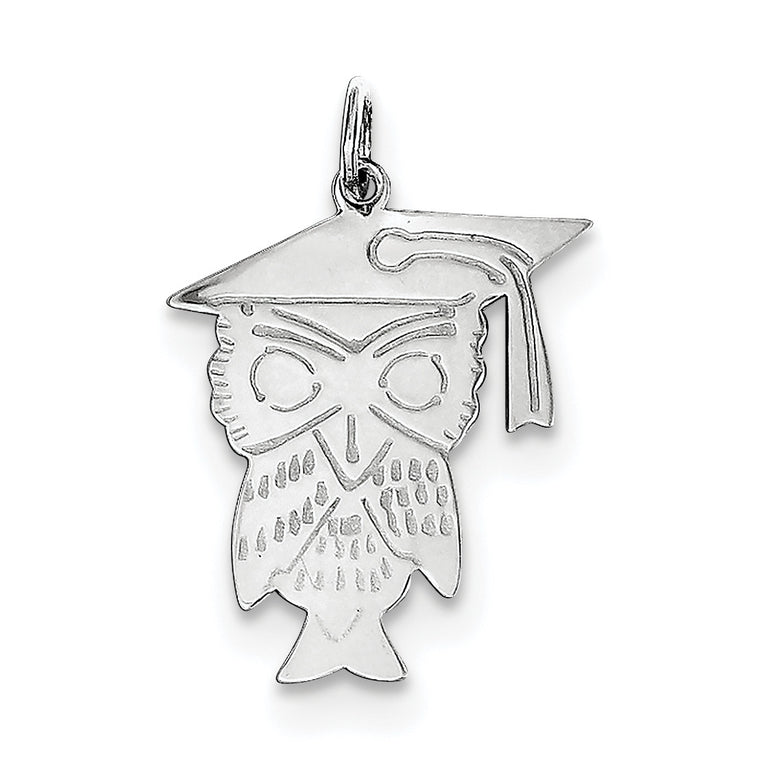 Sterling Silver Owl Polished  Charm QC3752 - shirin-diamonds