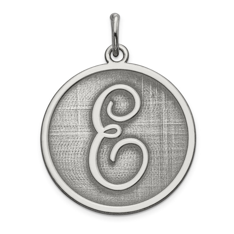 Sterling Silver Brocaded Initial E Charm QC4162E - shirin-diamonds