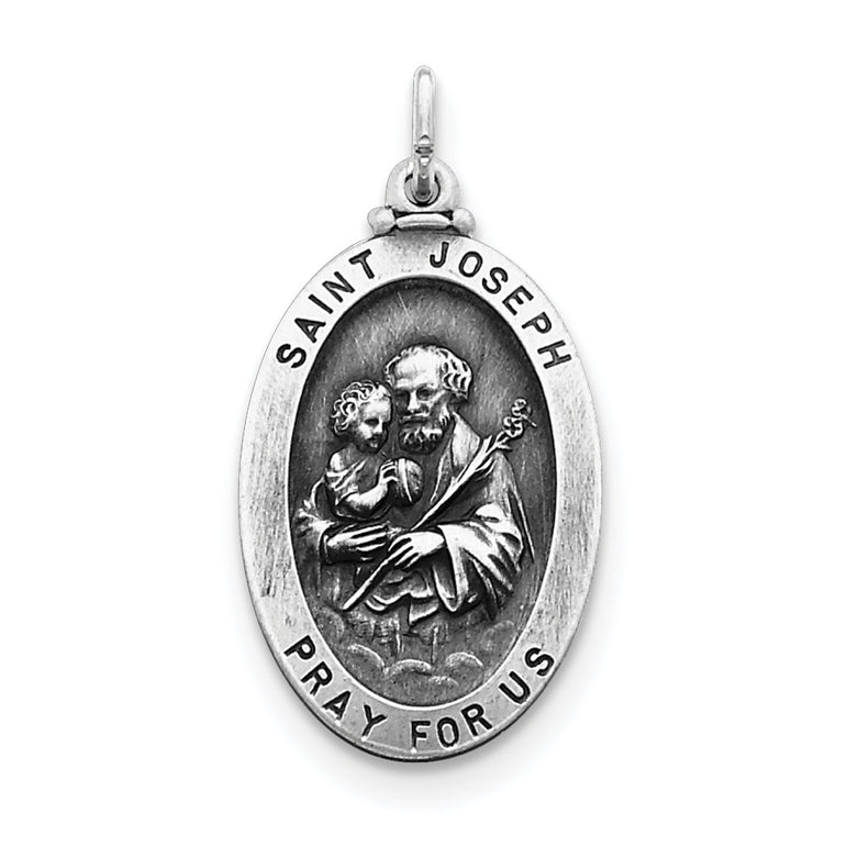 Sterling Silver Antiqued Saint Joseph Medal QC443 - shirin-diamonds