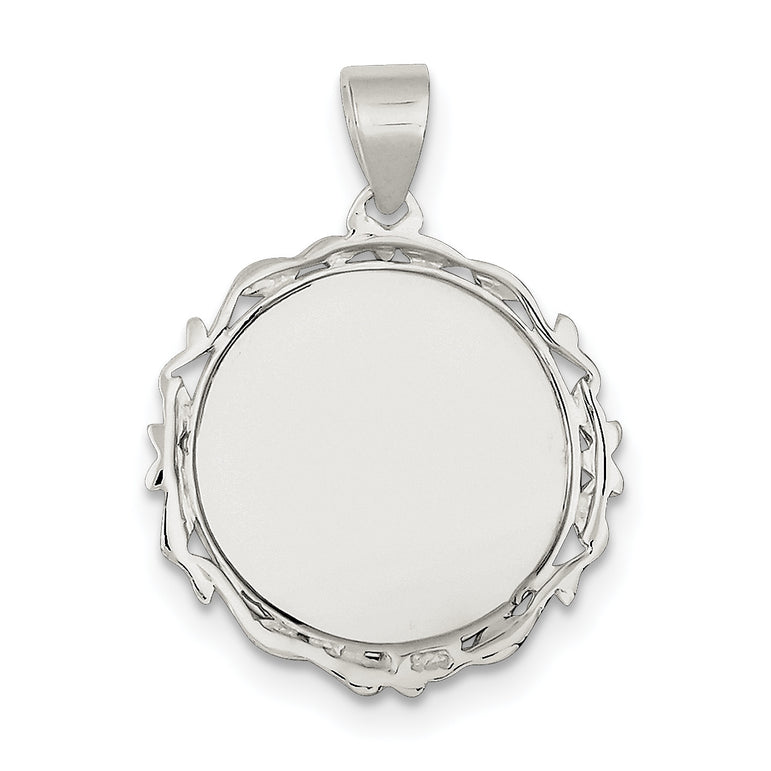 Sterling Silver Fancy Round Pendant QC4701 - shirin-diamonds