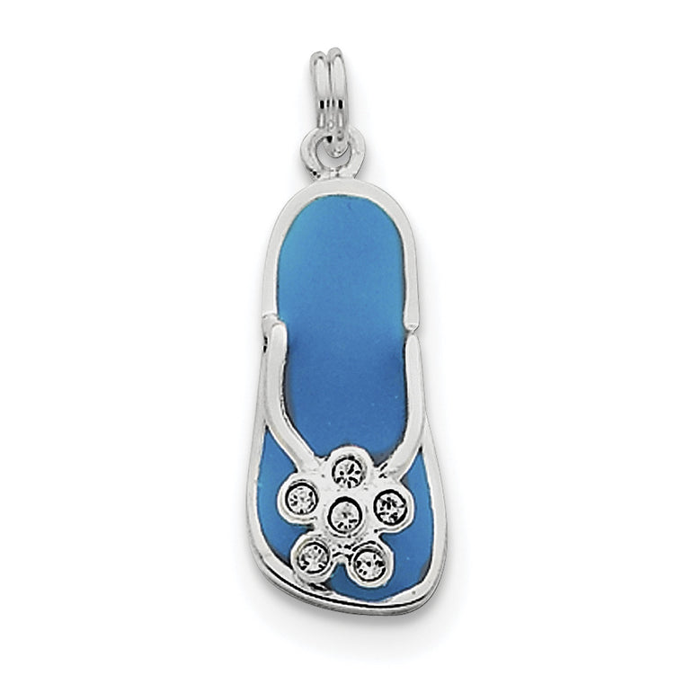 Sterling Silver Enameled and CZ Flip Flop QC4848 - shirin-diamonds
