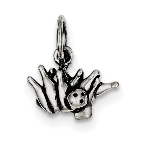 Sterling Silver Antique Bowling Ball and Pins Charm QC5099 - shirin-diamonds