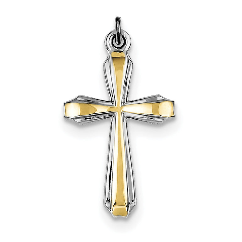 Sterling Silver Rhodium-plated & 18k Gold-plated Cross Pendant QC5388 - shirin-diamonds