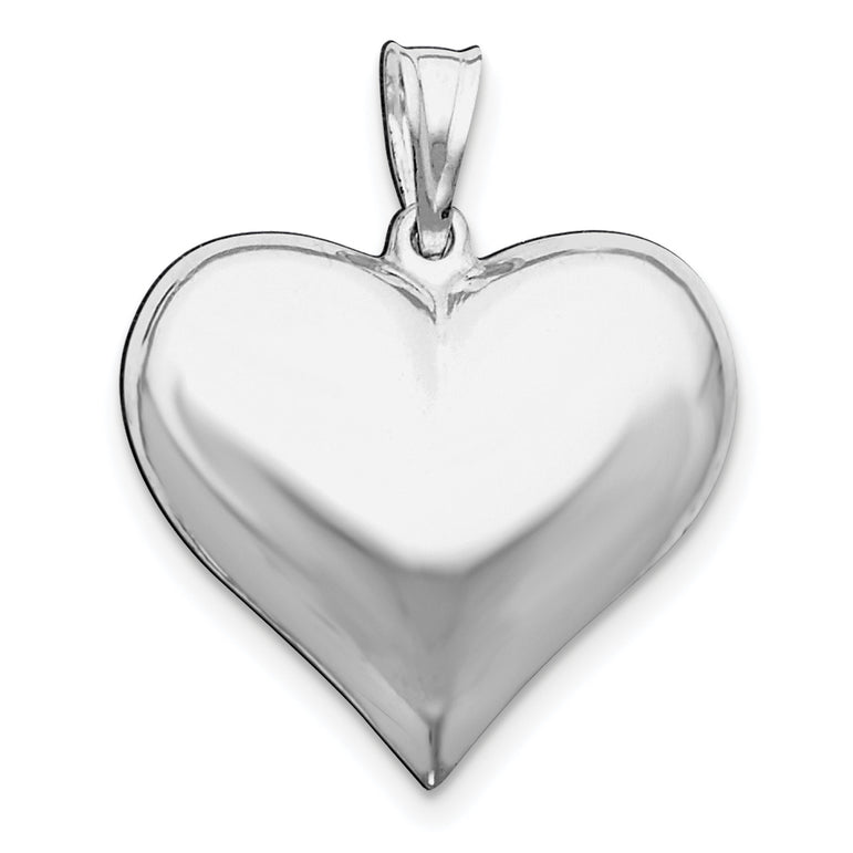 Sterling Silver Rhodium-plated Polished Puffed Heart Pendant QC5973 - shirin-diamonds