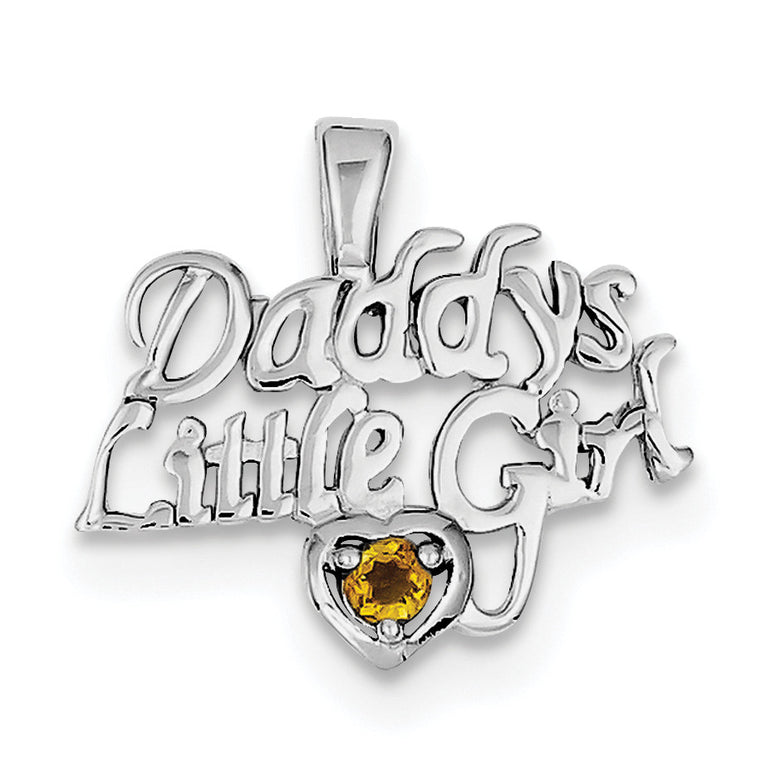 Sterling Silver Rhodium-platedCitrine Daddy's Little Girl Pendant QC6020 - shirin-diamonds