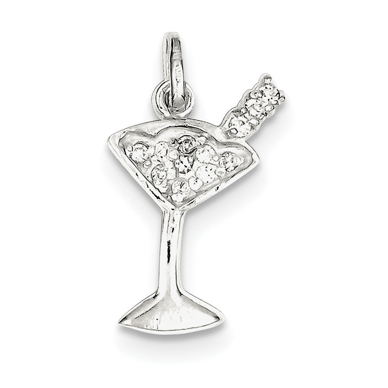 Sterling Silver CZ Martini Pendant QC6128 - shirin-diamonds