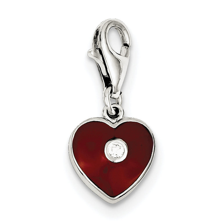 Sterling Silver Red Enameled CZ Heart Charm QC6187 - shirin-diamonds