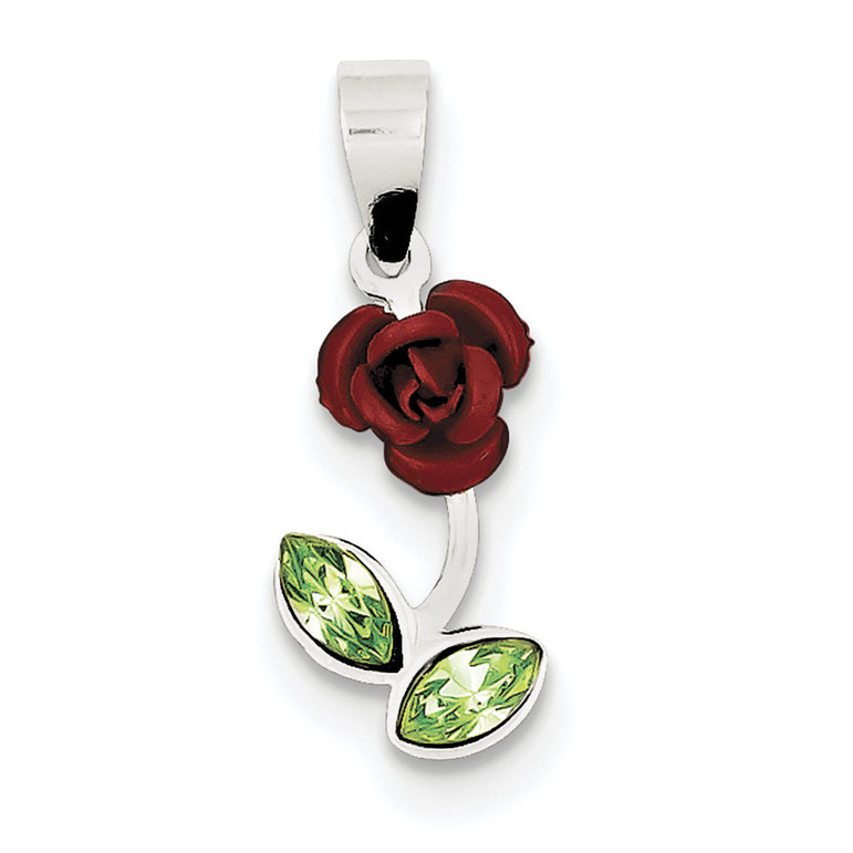 Sterling Silver Red Enamel w/Green CZ Rose Charm QC6206 - shirin-diamonds