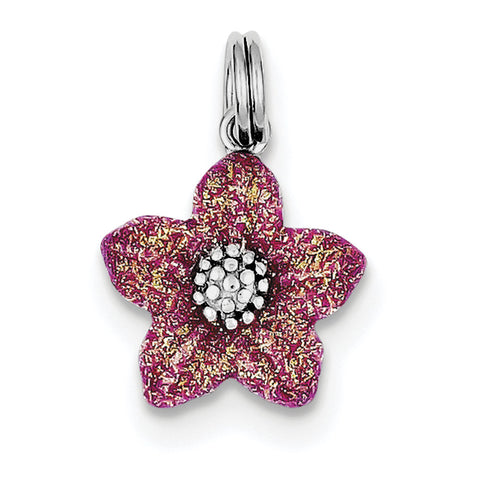 Sterling Silver Rhodium-platedPink Enamel Flower Charm QC6211 - shirin-diamonds