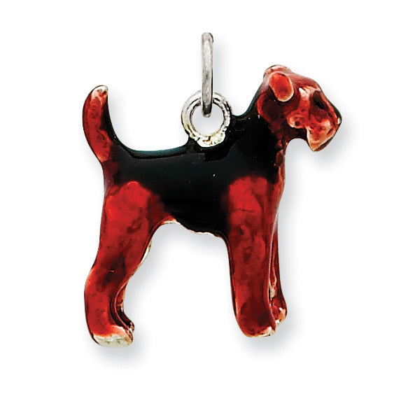 Sterling Silver Enameled Airedale Dog Charm QC6379 - shirin-diamonds