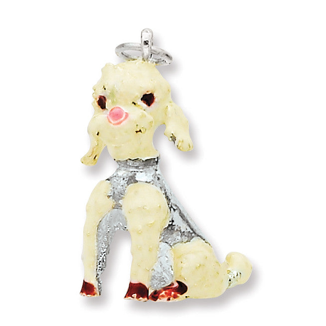 Sterling Silver Enameled Large Poodle Charm QC6431 - shirin-diamonds