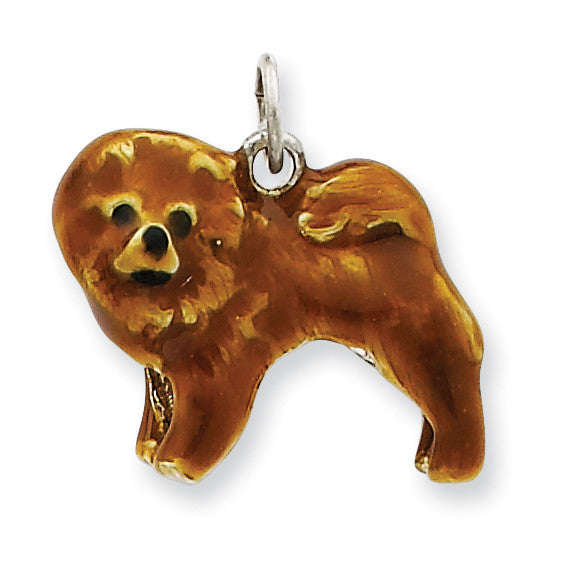 Sterling Silver Enameled Chow Dog Charm QC6445 - shirin-diamonds