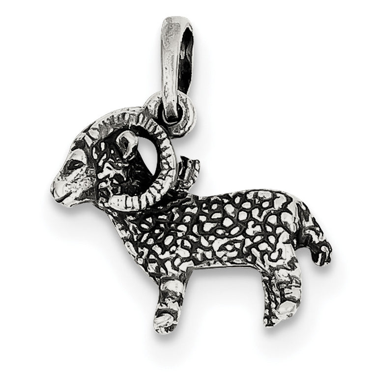Sterling Silver Antiqued Aries Pendant QC6498 - shirin-diamonds