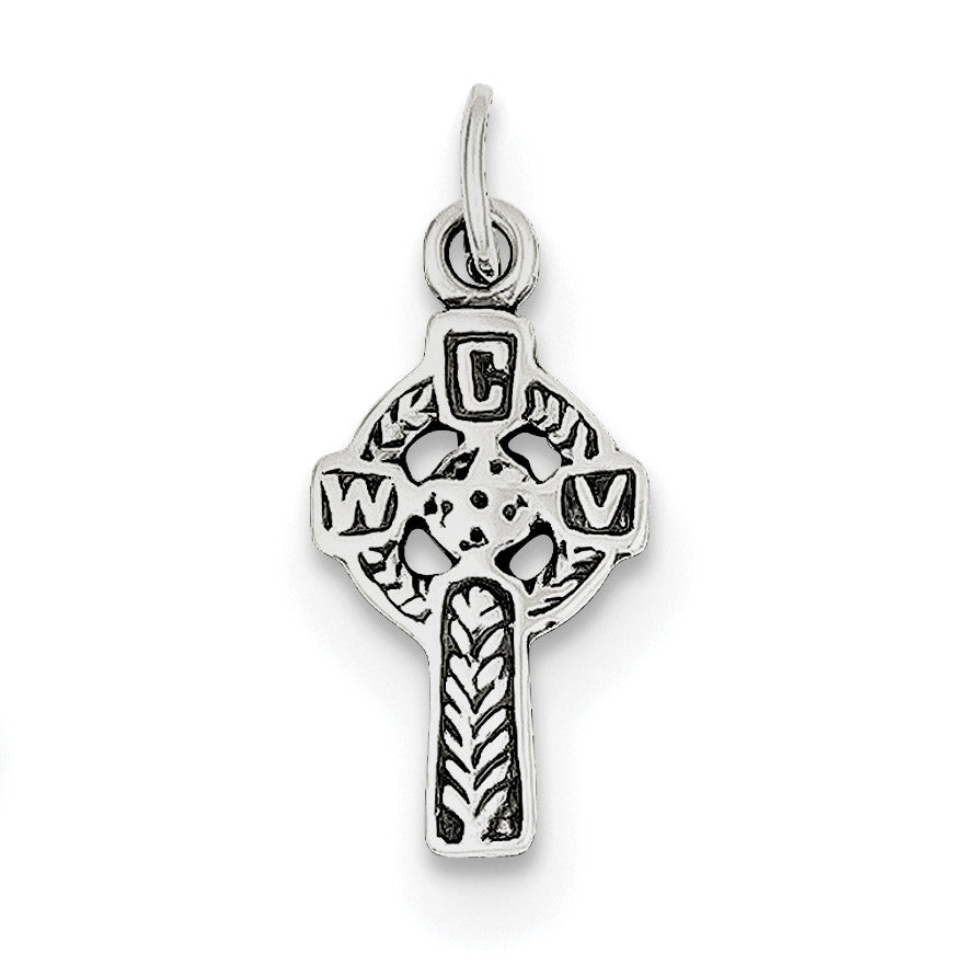 Sterling Silver Antiqued Celtic Cross Charm QC6678 - shirin-diamonds