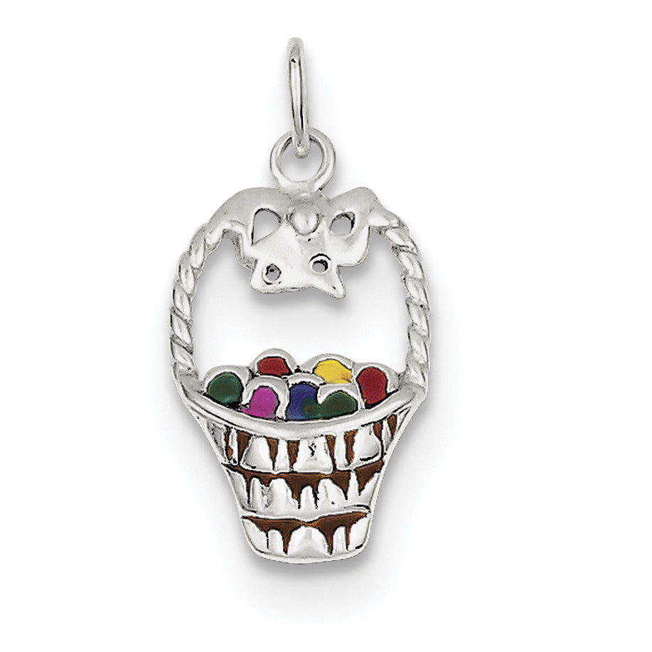 Sterling Silver Enameled Easter Basket QC7173 - shirin-diamonds