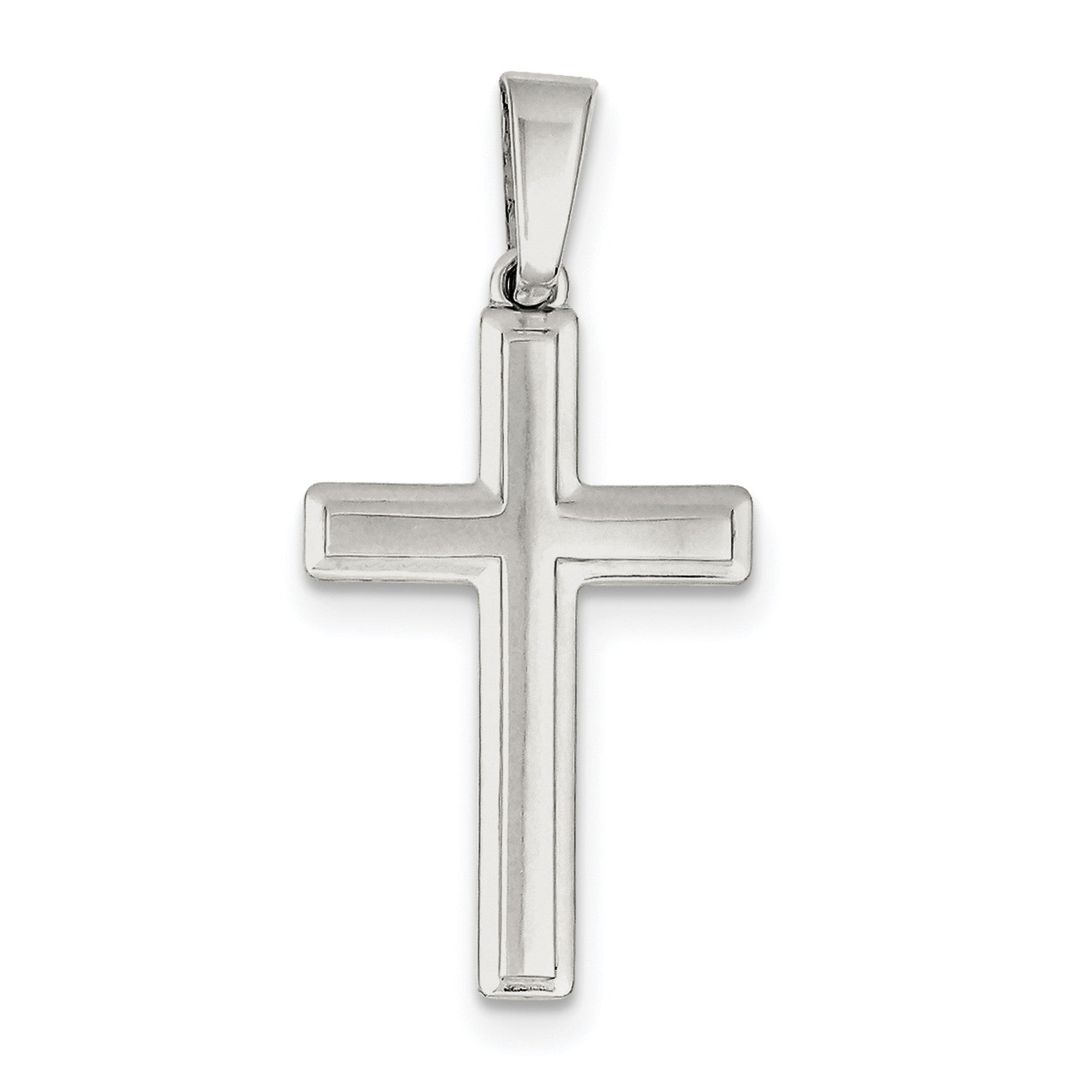 Sterling Silver Polished Cross Pendant QC7223 - shirin-diamonds