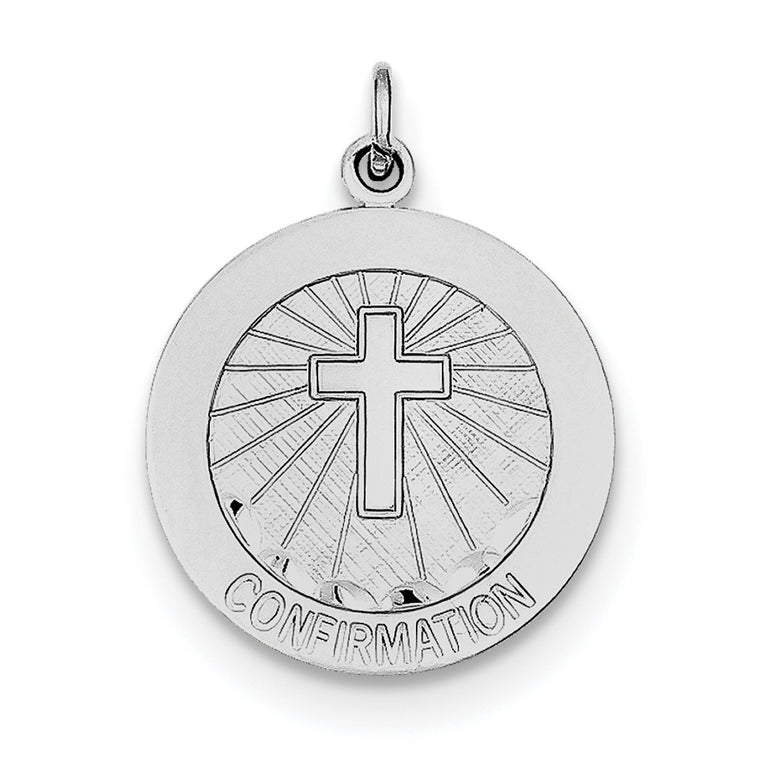 Sterling Silver Rhodium-plated Brushed Confirmation Medal Pendant QC7389 - shirin-diamonds