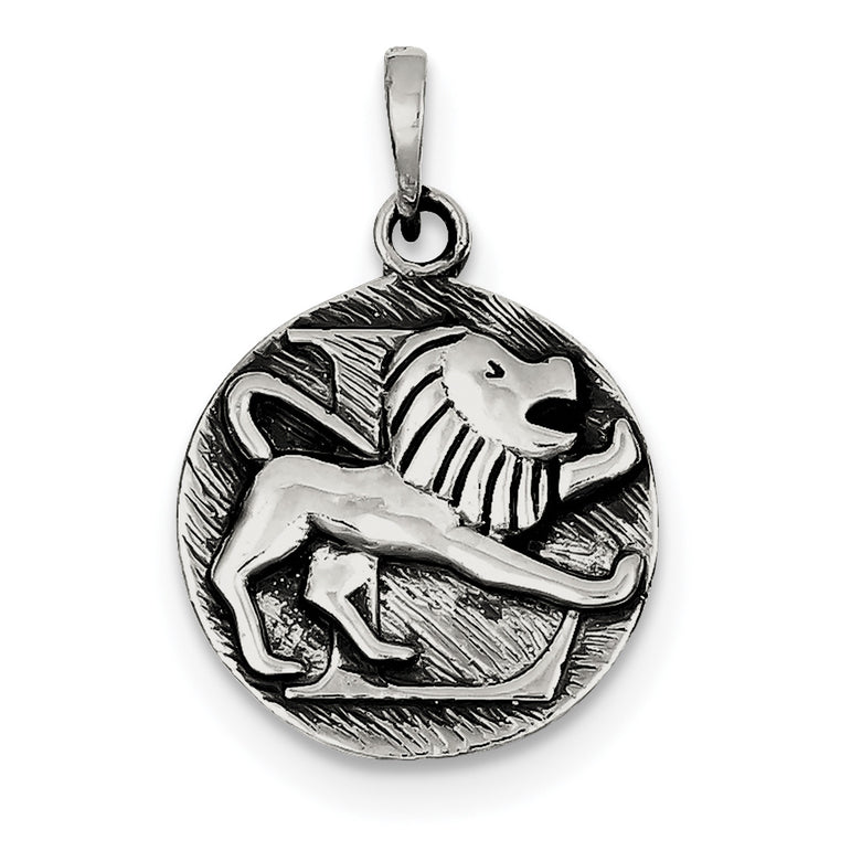 Sterling Silver Polished Antique Finish Leo Horoscope Pendant QC7416 - shirin-diamonds