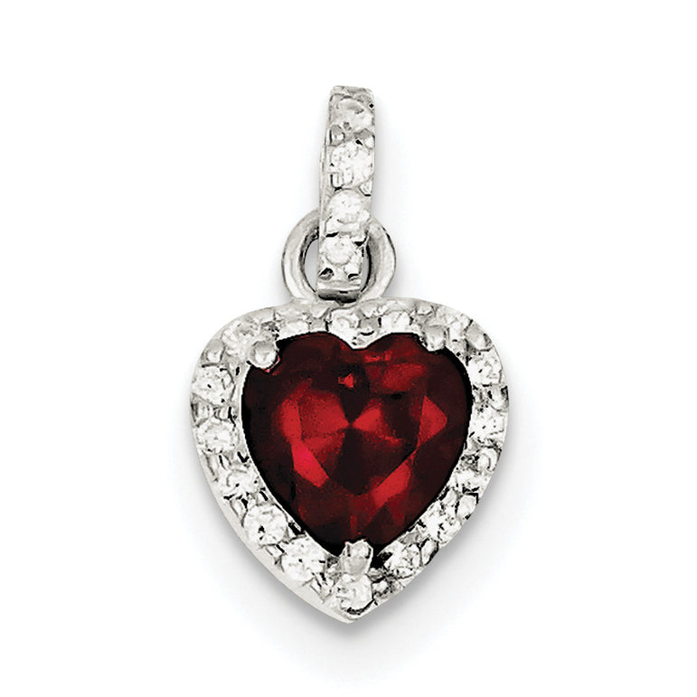 Sterling Silver Red CZ Heart Pendant QC7468 - shirin-diamonds