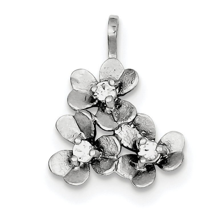 Sterling Silver CZ Matte Flowers Charm QC7545 - shirin-diamonds