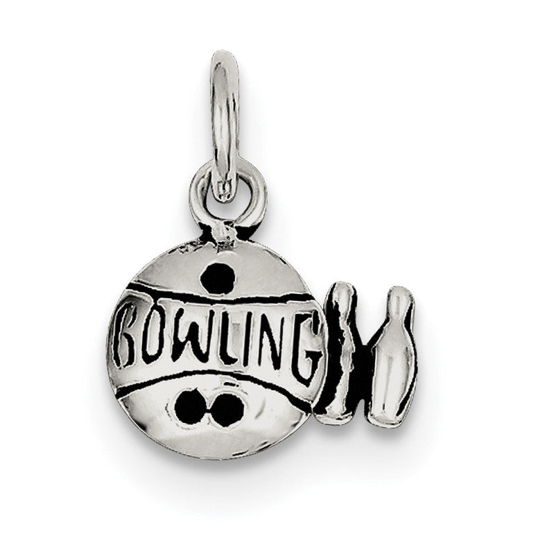 Sterling Silver Antiqued Bowling Ball and Pins Charm QC7916 - shirin-diamonds