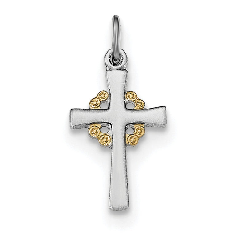 Sterling Silver Rhodium-plated & Gold-tone Cross Pendant QC8182 - shirin-diamonds
