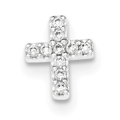 Sterling Silver Polished CZ Cross Chain Slide