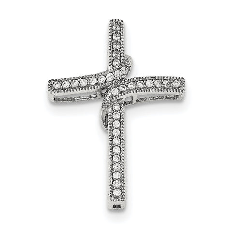 Sterling Silver Polished CZ Cross Chain Slide QC8244