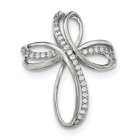 Sterling Silver Polished CZ Cross Chain Slide QC8250