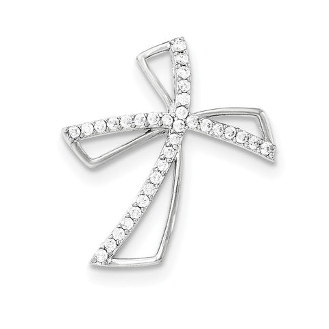 Sterling Silver Polished CZ Cross Chain Slide QC8251