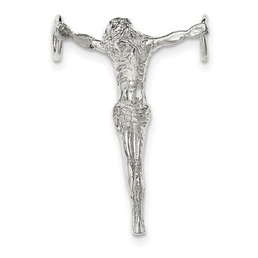 Sterling Silver Polished Jesus Cross Chain Slide Pendant - shirin-diamonds