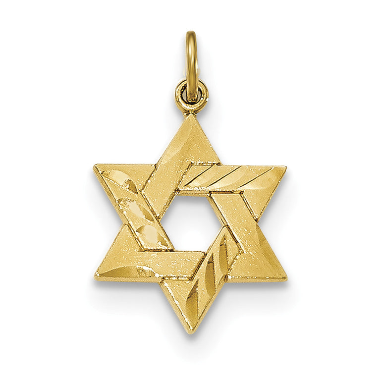 Sterling Silver Gold-tone Engraved Jewish Star Pendant QC8456 - shirin-diamonds