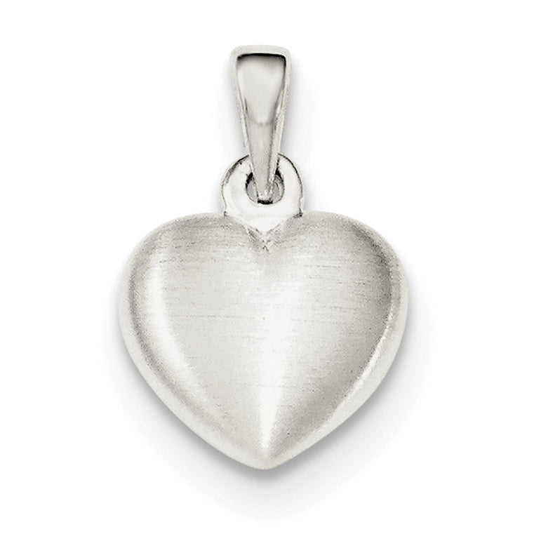 Sterling Silver Satin Heart Pendant QC8463 - shirin-diamonds