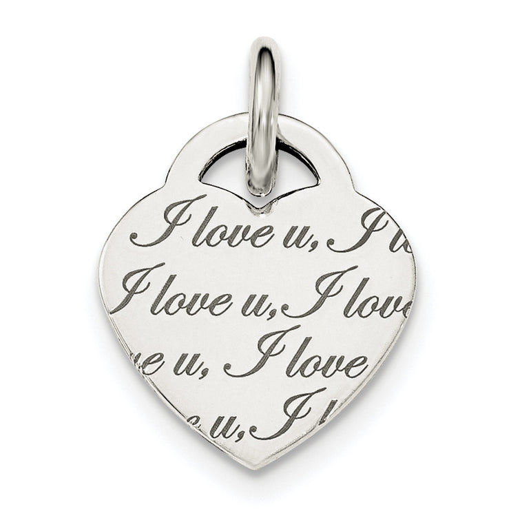 Sterling Silver Polished 'I Love u' Engraved Heart Pendant QC8470 - shirin-diamonds