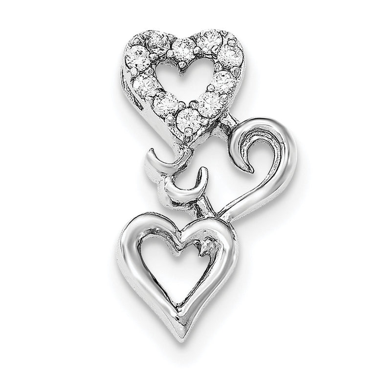 Sterling Silver Polished Rhodium Plating Hearts CZ Pendant QC8485 - shirin-diamonds