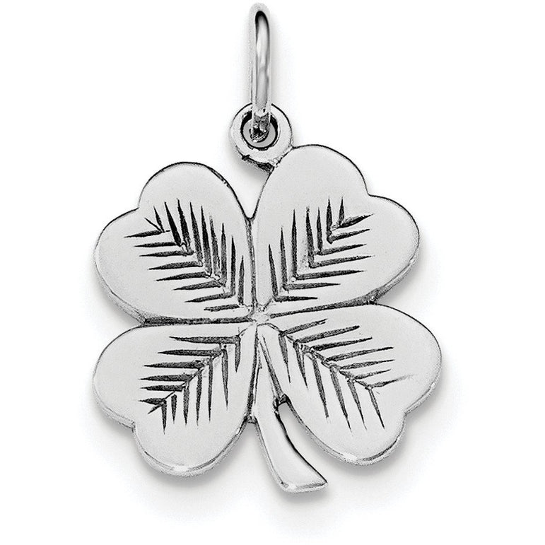 Sterling Silver Rhodium-plated Polished/Textured 4 Leaf Clover Pendant QC8652 - shirin-diamonds
